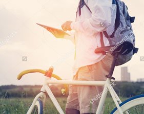 Traveler with Bike